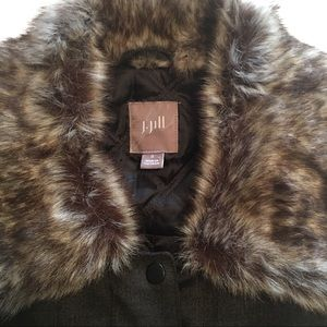 J. Jill Brown Herringbone Vest W/Faux Fur Collar